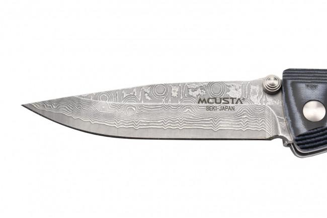 Mcusta MC-10D - Damascus blade - Blue Micarta handle