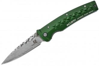 Mcusta MC-163D Tsuchi - Damascus green anodized aluminum