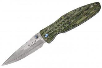 Mcusta MC-184D Rikyu - Damascus green micarta